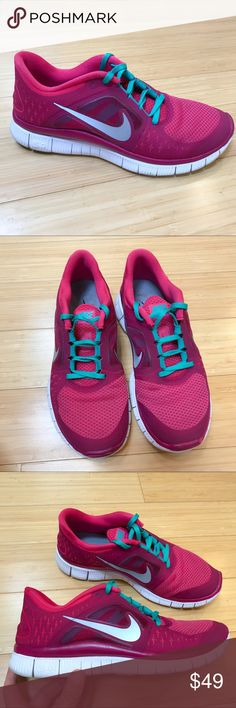 NIKE Free Run 3 sneakers, 8.5. Beautiful pair of raspberry and green Nike Free Run 3 running sneakers, size 8.5. Pre-loved but in very good condition with no major flaws. Super comfortable! Nike Shoes Sneakers