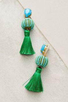 Discover the season's best trends at Anthropologie. Shop by trend to find unique clothing and accessories, featuring the season's newest arrivals. Bohemian Jewelry, Indian Jewelry, Beaded Jewelry, Jewellery, Bohemian Fashion, Tassel Earrings, Drop Earrings, Anthropologie Jewelry, Gold Work
