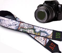 Personalized camera strap. Monogram camera straps. Black World Map Camera Strap. Australia. North America. Finds by InTePro