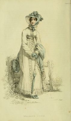 bumble button: Ackermann's Engravings of Regency Walking Dresses from 1820