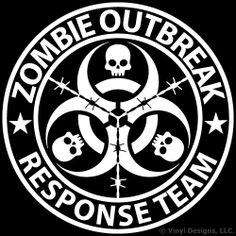 Zombie Outbreak Response Team Vinyl Decal, Truck and Car Window Sticker, inches, White Car Window Stickers, Bumper Stickers, Zombie Apocalypse, Skull Art, Vinyl Designs, Cricut Design, Fantasy Art, Vinyl Decals, Stencils