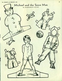 Antique 1945 Magazine Uncut Paper Doll Michael and the Snow Man by Marguerite Gayer