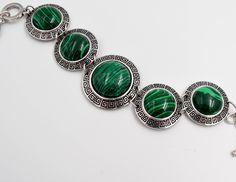 Malachite bracelet, stones bracelet, Romantic jewelry, Bohemian bracelet, Gifts for her, silver plated bracelets, safe bijoux by wikandah on Etsy