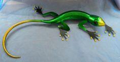 """EXTRA LARGE 3D METAL ART SCULPTURE GECKO LIZARD VIBRANT GLOSSY METALLICA  27"""" x 12"""""""
