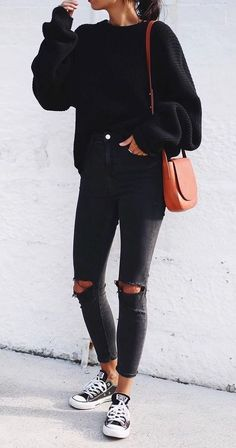 all black fall style. knit. denim. converse. shoulder bag.