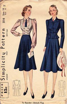 Vintage 1930's Women's Four Piece Suit Pattern  - Simplicity 3114.