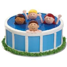 Heads Up In The Pool Cake - Enjoy easy summer living serving a novel swimming pool cake. This great seasonal look is quick to create with our ready-made Boy and Girl Cupcake Toppers. Fancy Cakes, Cute Cakes, Pretty Cakes, Beautiful Cakes, Amazing Cakes, Pool Party Cakes, Pool Cake, Cake Cookies, Cupcake Cakes