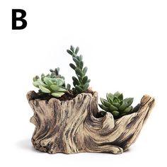 Creative Antique Wooden Flower Planters For Succulents Imitation Wood Cement Bonsai Garden Flowerpots Wood-Like Home Garden Driftwood Planters, Cement Planters, Wooden Planters, Flower Planters, Diy Planters, Flower Pots, Log Planter, Cement Garden, Driftwood Ideas