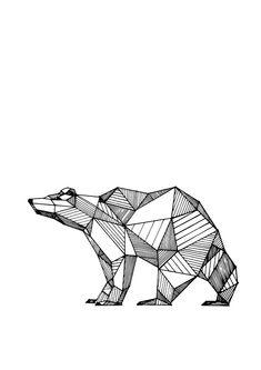 geometric drawings animals black and white - Penelusuran Google