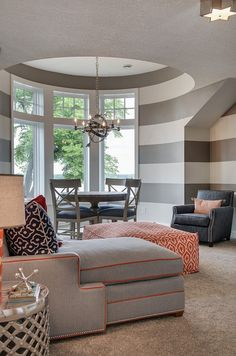 BOLD gray/white stripe with navy and coral! Love it! Lake House with Navy Exterior