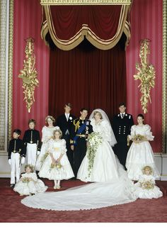 Pictured with the bride and groom, the Royal Wedding Party: Front row (left to right): Mr Edard van Cutsem, Miss Catherine Cameron, Miss Sarah-Jane Gaselee, Miss Clementine Hambro. Second row (left to right): Lord Nicholas Windsor, Miss India Hicks, Princ   - HarpersBAZAAR.com
