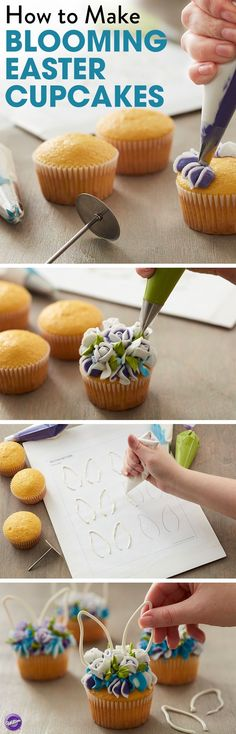 How to Make Blooming Easter Cupcakes - Topped with simple piped flowers and candy bunny ears, these Easter cupcakes are a spring floral fantasy! You can add dimension and texture to your piped flowers by striping your decorating bags with colored icing so your roses are literally blooming with color. These cupcakes are also great for spring time baby showers, wedding showers or even birthdays.