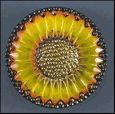 Czech glass sunflower button