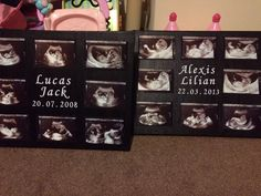 Created by painting a canvas black and adding photos of my children's scan pictures. Also including their name and date of birth. I want to make more