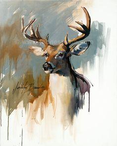 White Tailed Deer, Buck Giclee Fine Art Print - Pennsylvania Deer Painting by Jennifer Brandon-pet portrait print on Etsy, $420.00