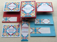 Mexican Save the Date and Invitation Set - Talavera Tile Wedding Stationery Set