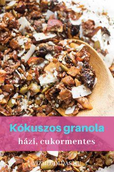 Cukormentes finomságok - Házi cukormentes, kókuszos granola, amit egész héten enni akarsz majd Granola, Dairy Free, Gluten Free, Cereal, Breakfast, Food, Glutenfree, Morning Coffee, Essen