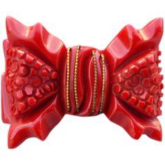 Vintage Deeply Carved Bakelite Brooch Big Fat Red Bow