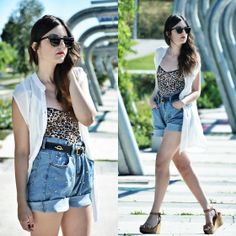 Stylish Plus Shorts, Zara Wedges, Vintage Belt, Zara Blouse, Suiteblanco Body
