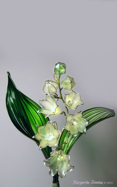 Ландыш (Convallaria) Lily of the Valley. Hair Accessories and Brooches by Margarita Zimina Nail Polish Jewelry, Nail Polish Flowers, Nail Polish Crafts, Flower Nail Art, Flower Crafts, Resin Jewelry, Jewellery, Wire Flowers, Kanzashi Flowers