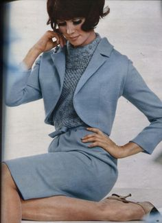 Mid 60s classic baby blue dress suit bolero jacket color photo print ad model vintage fashion style BURDA INTERNATIONAL 1965 HERBST-WINTER