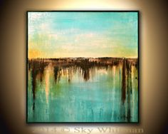 Large Square Framed Painting Original by originalmodernart on Etsy, $499.00