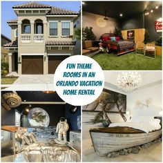 """This Orlando Theme Home Vacation Rental was decorated with spaces like """"Castaway"""" and """"Moonlite Drive-Thru"""" Theater Room 