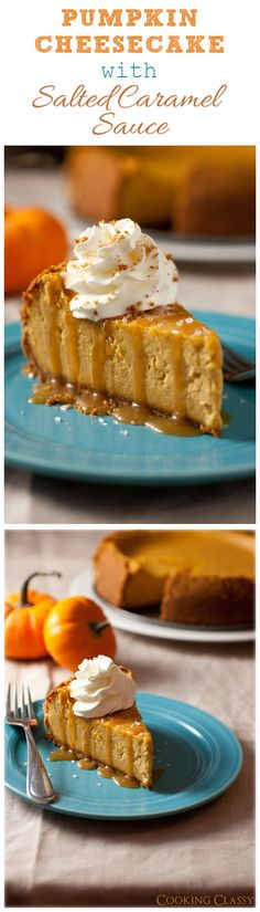 Pumpkin Cheesecake with Salted Caramel Sauce - this is truly the ultimate fall cheesecake! It's so incredibly good!