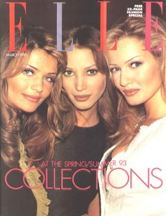 ELLE march 1993. Helena Christensen, Christy Turlington and Karen Mulder