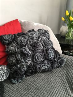 Crocheted flower rose cushion pillow cover Cushion Pillow, Crochet Flowers, Crocheting, Pillow Covers, Cushions, Throw Pillows, Rose, Bed, Projects