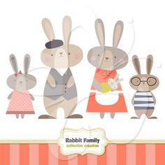 Rabbit Family Clip Art Clipart Set - Personal and Commercial Use on Etsy, 2,96 €