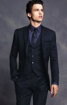 Pinstripes with a patterned tie = very chic #BarIII #suit #vest #macys BUY NOW!