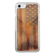 Flag | Faded Eagle | Personalized Carved iPhone 8/7 Case - gift for him present idea cyo design