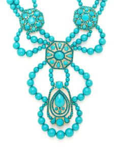 Turquoise Beaded Bib Necklace by Leslie Danzis at Gilt