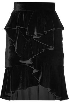Balmain|Ruffled velvet mini skirt|NET-A-PORTER.COM