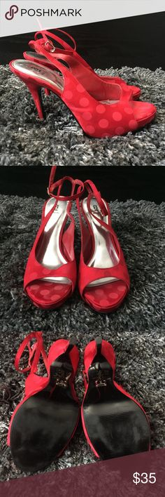 Strappy red BAKERS polka dot peep toe heels - SZ 7 Red hot BAKERS polka dotted high heels with gorgeous ankle strap detail. PERFECT CONDITION! Worn once indoors. Size 7. Bakers Shoes Heels