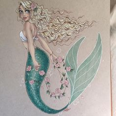Commission from before the holidays. This one was so fun to do! I'm planning on going live in an hour or so to finish coloring a drawing I started live forever ago, so look out for that. ☺️ #drawing #illustration #art #mermaid #prismacolor