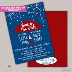 Fourth of July wedding shower or Engagement Party Couples Shower Invitation - DIGITAL - DIY Printable Invitation on Etsy, $18.00