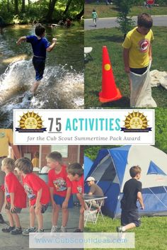 Do you need ideas on how to earn the Cub Scout Summertime Pack Award? Look no further than this epic list of 75 activities! via Do you need ideas on how to earn the Cub Scout Summertime Pack Award? Look no further than this epic list of 75 activities! Cub Scout Games, Cub Scout Activities, Camping Activities For Kids, Fun Games For Kids, Camping Games, Camping With Kids, Summer Activities, Primary Activities, Camping Crafts