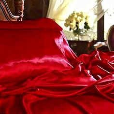 .red satin bedding