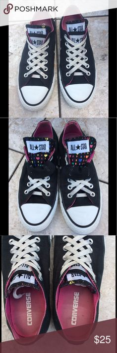 Black Chucks Awesome black,double tongue low top Converse All Star kicks in excellent condition. Womens size 8 Converse Shoes Sneakers