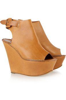 Chloé  Peep-toe leather wedges