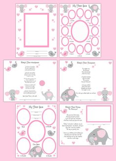 PREMADE SCRAPBOOK PAGES Elephant Baby Girl Memory by decampstudios