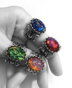 Fire Opal Ring  You Choose Red Pink Blue or Green by horribell