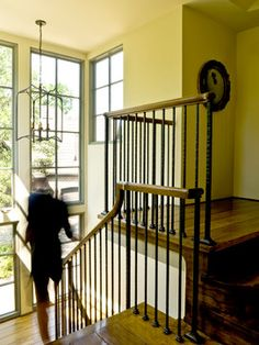 Wrought iron railing with wood banister / railing with wood - Traditional but not fussy