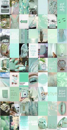 Iphone Wallpaper Tumblr Aesthetic, Aesthetic Pastel Wallpaper, Aesthetic Backgrounds, Aesthetic Wallpapers, Green Aesthetic Tumblr, Mint Green Aesthetic, Color Collage, Photo Wall Collage, Aesthetic Collage