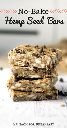 Healthy Vegan Recipes/Vegan Breakfasts/Our No-Bake Hemp Seed Bars are a healthy, gluten free, and vegan recipe that will keep you full! The perfect on the go snack or breakfast that has just a touch of sweet and chocolate goodness. Healthy Vegan Dessert, Healthy Bars, Healthy Desserts, Dessert Recipes, Healthy Steak, Hemp Seed Recipes, Granola Barre, Hemp Recipe, Hemp Seed Butter Recipe