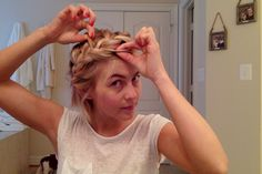 New hair messy short julianne hough 46 Ideas Headbands For Short Hair, Braids For Short Hair, Short Hair Styles, Messy Braid Tutorials, Messy Braids, Short Hair Braids Tutorial, Braid Headband Tutorial, Headband Hairstyles, Messy Hairstyles