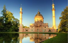 Mosque of Schwetzingen Castle - Baden-Wurtemberg - Wikipedia, la enciclopedia libre Beautiful Mosques, Beautiful Places, Puzzle Of The Day, World 7, Islamic Architecture, Place Of Worship, Kirchen, Dom, Brunei