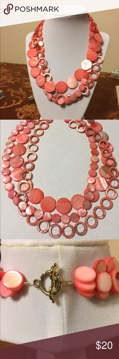 """Pretty Pink Shell Necklace Handmade by me, playful, very pretty pink multi string necklace. It is about 19""""- 20"""" long Jewelry Necklaces"""